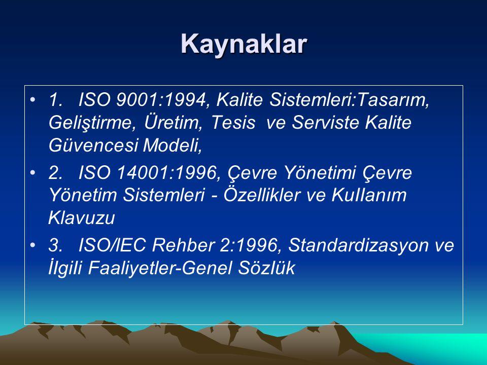 Kaynaklar 1. ISO 9001:1994, Kalite Sistemleri:Tasarım, Geliştirme, Üretim, Tesis ve Serviste Kalite Güvencesi Modeli,