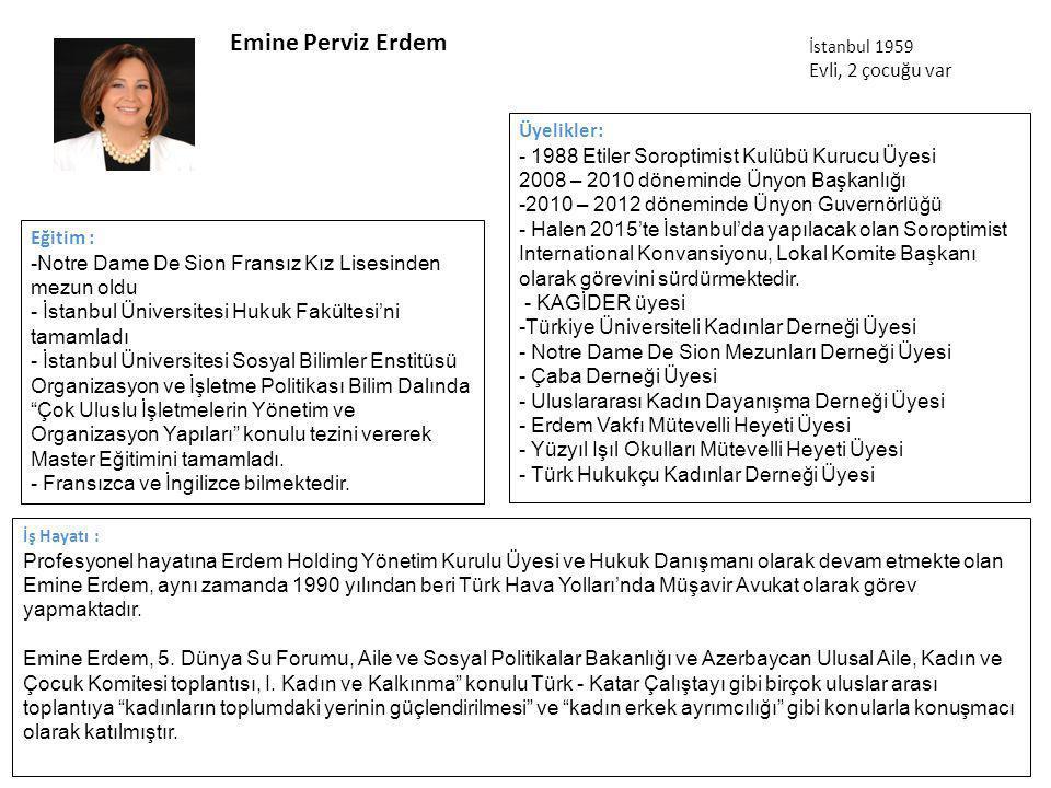 Emine Perviz Erdem Evli, 2 çocuğu var Üyelikler: