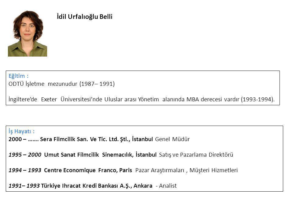 İdil Urfalıoğlu Belli Eğitim : ODTÜ İşletme mezunudur (1987– 1991)