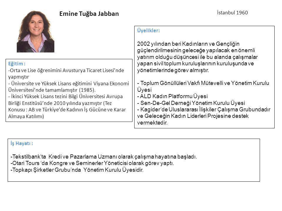 Emine Tuğba Jabban İstanbul 1960 Üyelikler: