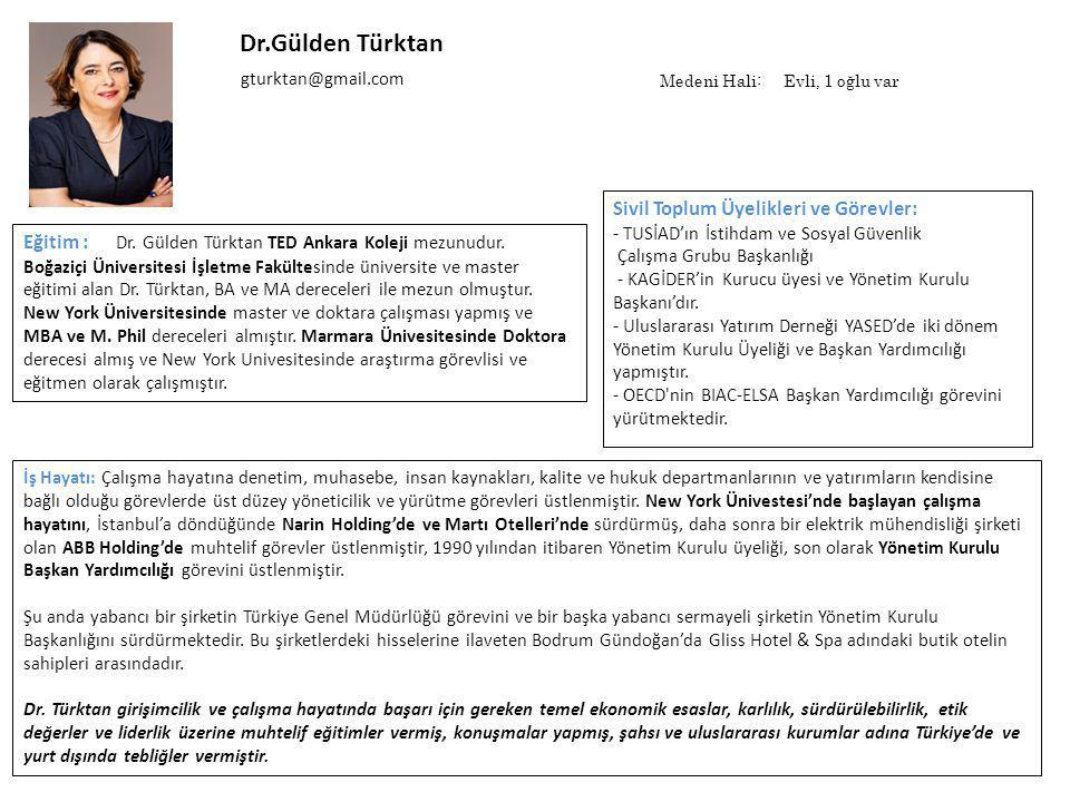Dr.Gülden Türktan Sivil Toplum Üyelikleri ve Görevler: