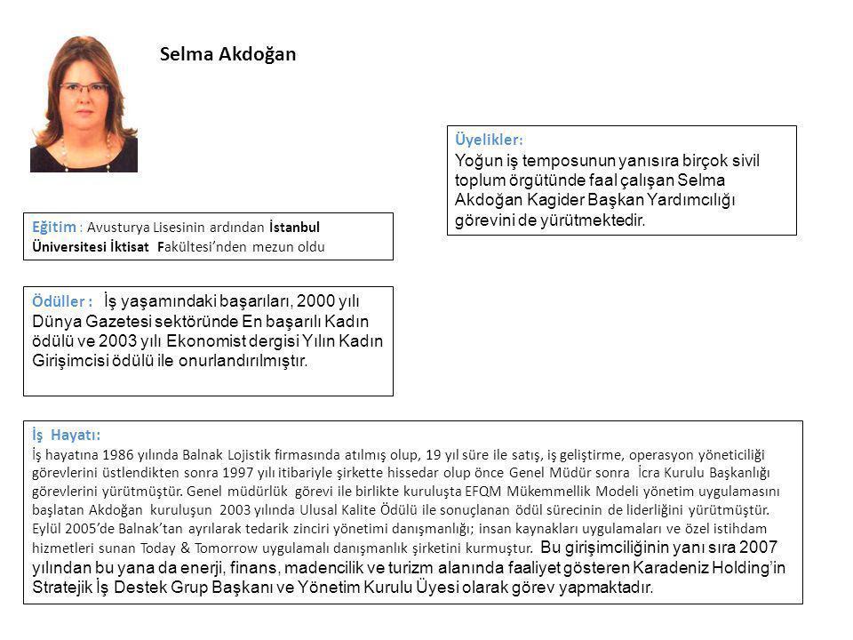 Selma Akdoğan Üyelikler: