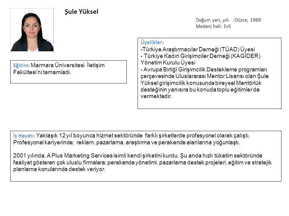 Şule Yüksel Üyelikler: Türkiye Araştırmacılar Derneği (TÜAD) Üyesi