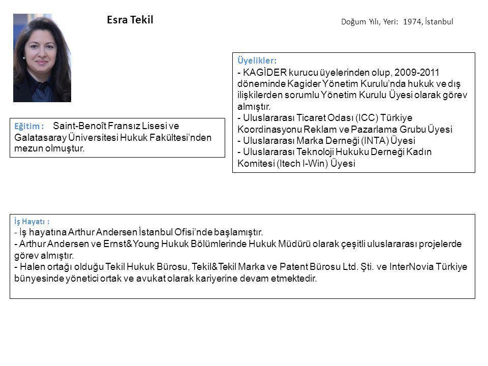 Esra Tekil Doğum Yılı, Yeri: 1974, İstanbul. Üyelikler: