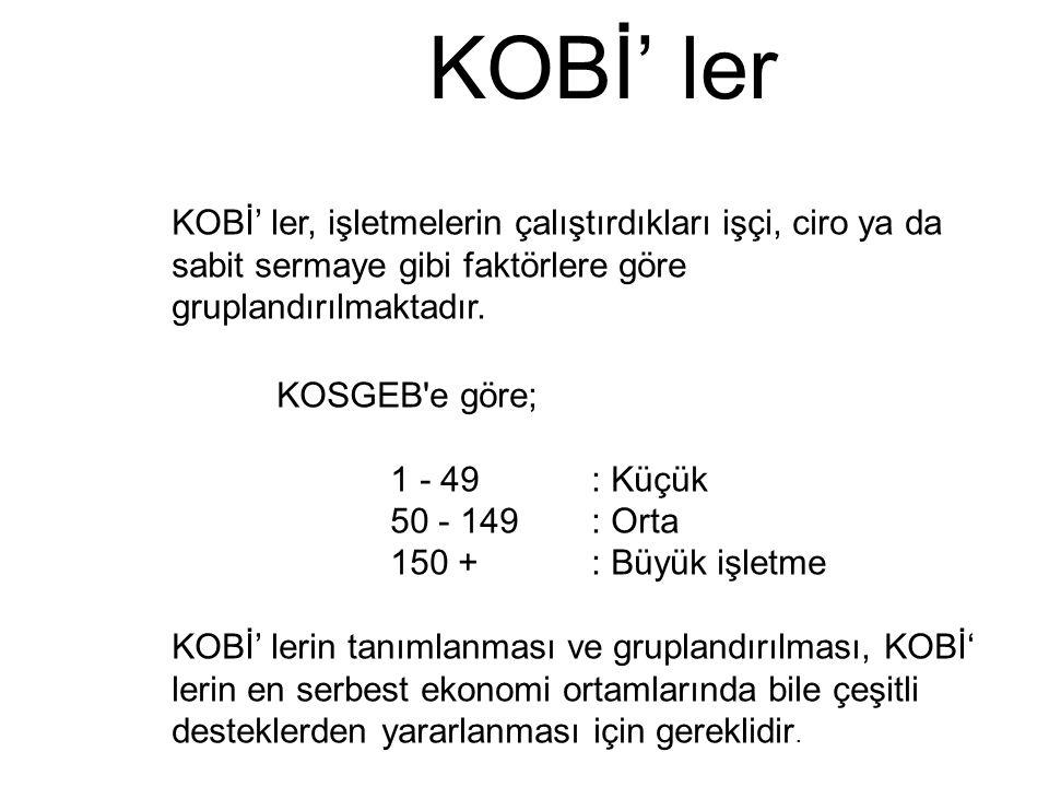 KOBİ' ler KOBİ' ler, işletmelerin çalıştırdıkları işçi, ciro ya da sabit sermaye gibi faktörlere göre gruplandırılmaktadır.