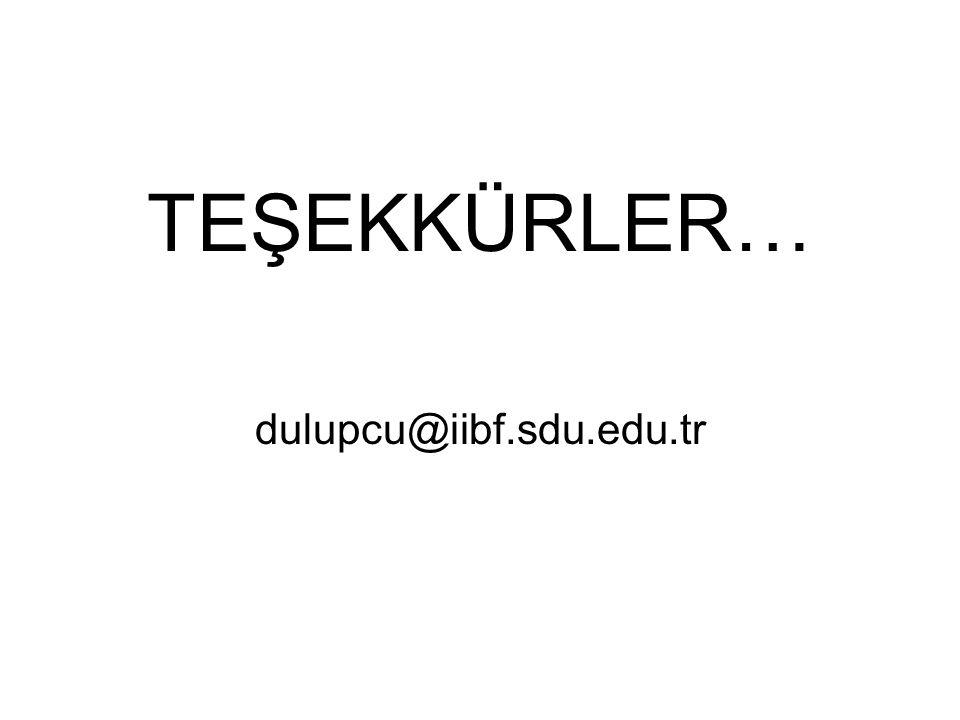 TEŞEKKÜRLER… dulupcu@iibf.sdu.edu.tr