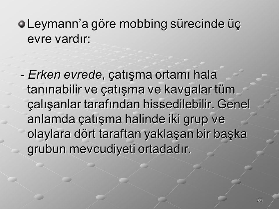 Leymann'a göre mobbing sürecinde üç evre vardır: