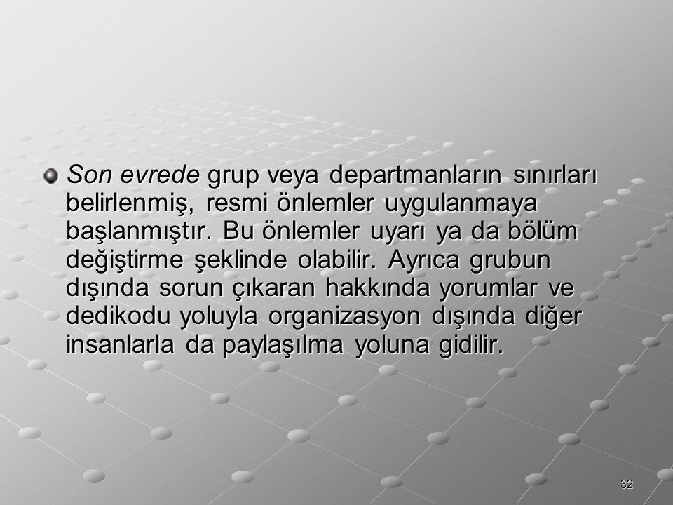 Son evrede grup veya departmanların sınırları belirlenmiş, resmi önlemler uygulanmaya başlanmıştır.