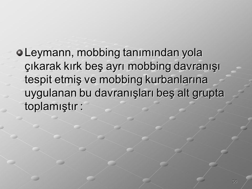 Leymann, mobbing tanımından yola çıkarak kırk beş ayrı mobbing davranışı tespit etmiş ve mobbing kurbanlarına uygulanan bu davranışları beş alt grupta toplamıştır :