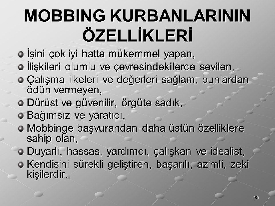 MOBBING KURBANLARININ ÖZELLİKLERİ