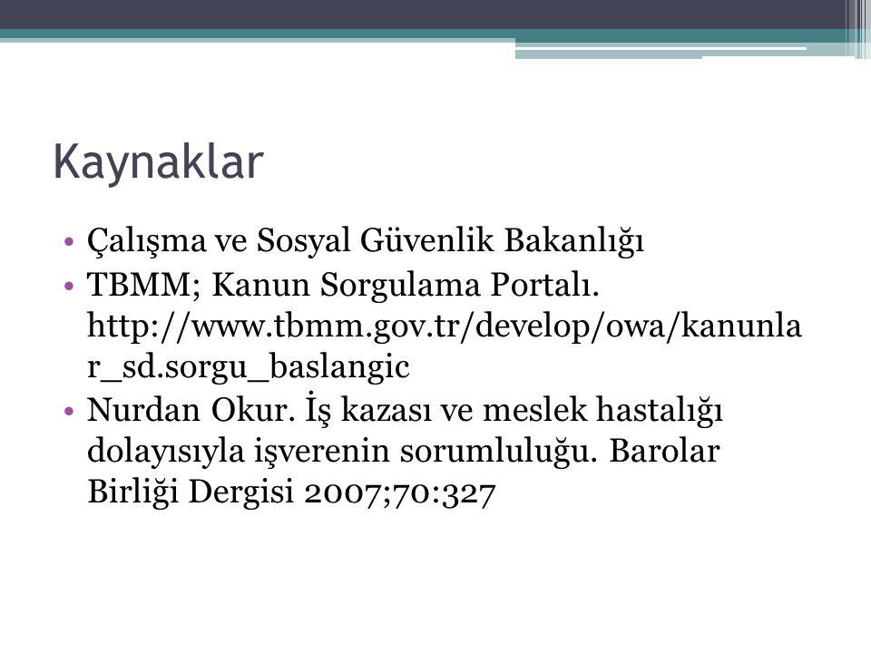 Kaynaklar Çalışma ve Sosyal Güvenlik Bakanlığı