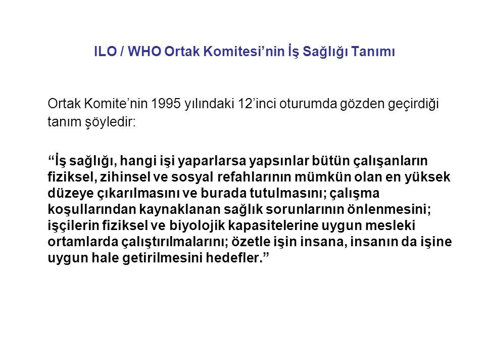 ILO / WHO Ortak Komitesi'nin İş Sağlığı Tanımı