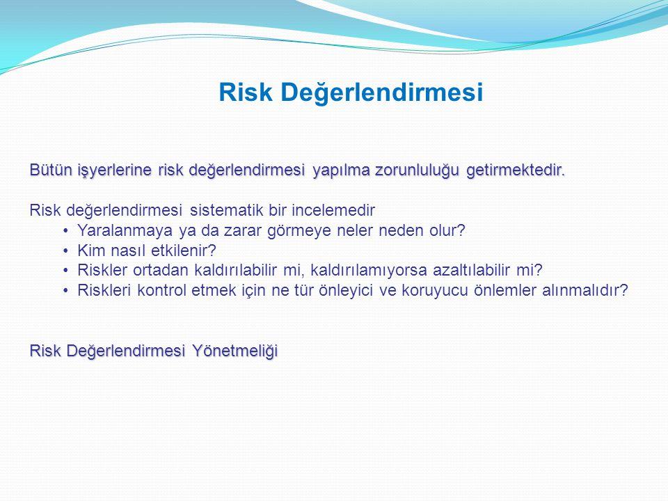 Risk Değerlendirmesi Bütün işyerlerine risk değerlendirmesi yapılma zorunluluğu getirmektedir. Risk değerlendirmesi sistematik bir incelemedir.