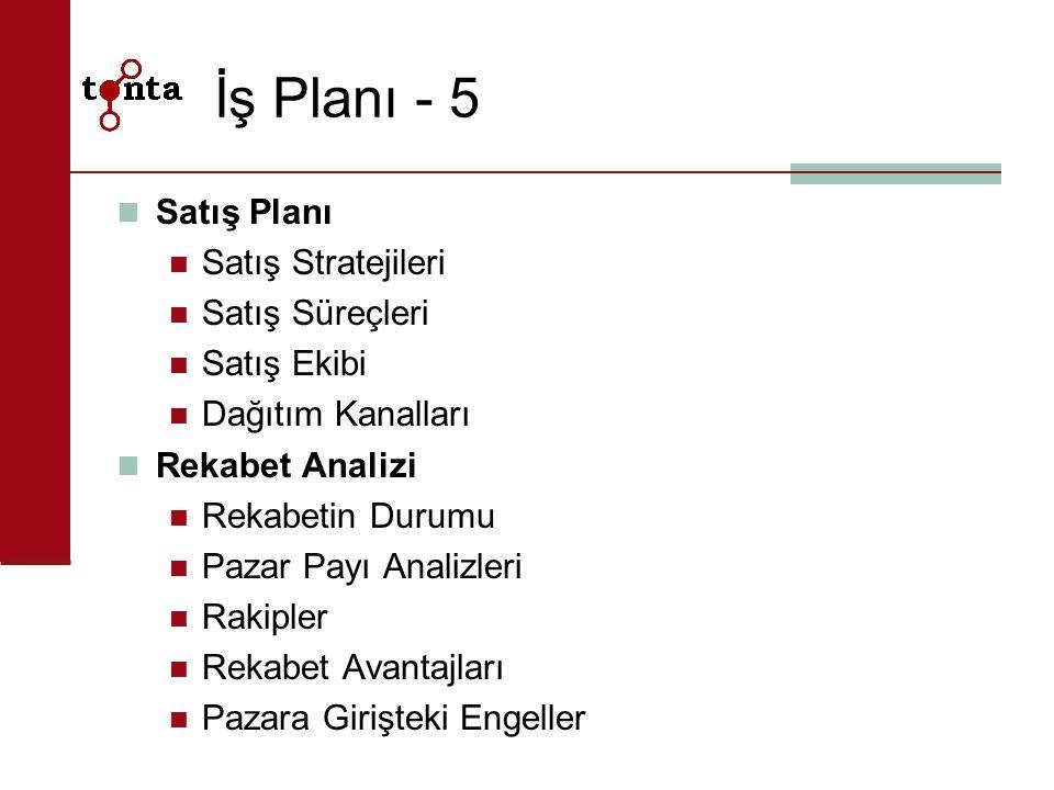 İş Planı - 5 Satış Planı Satış Stratejileri Satış Süreçleri