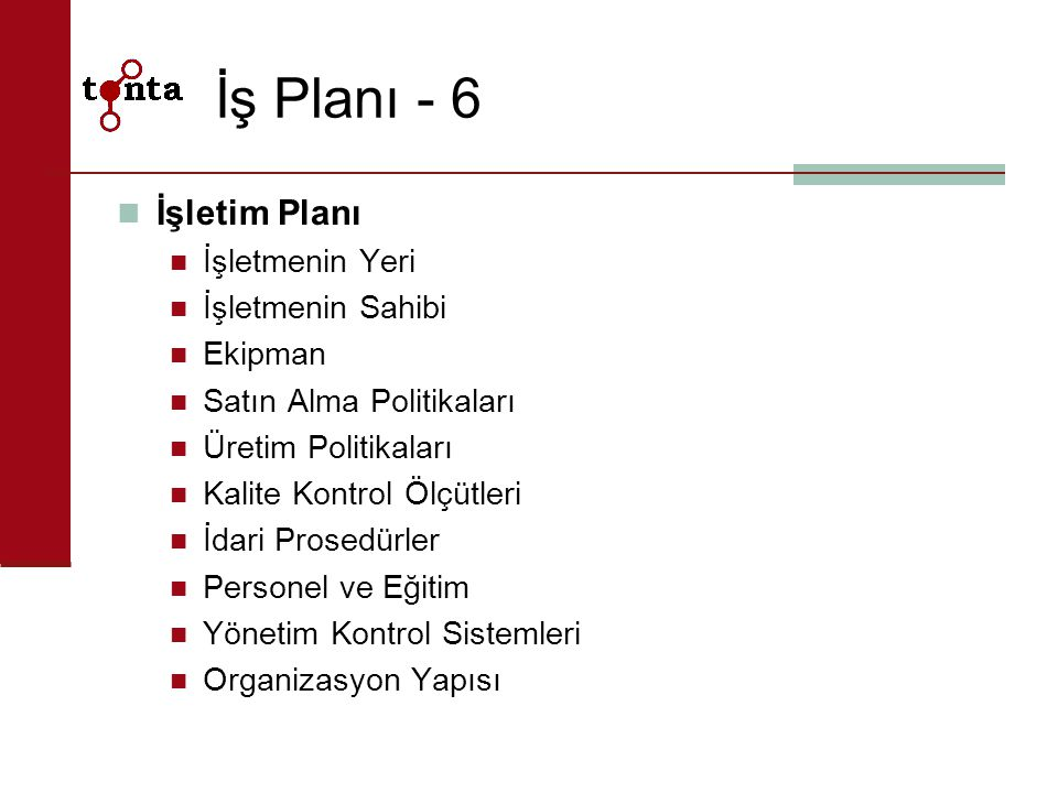 İş Planı - 6 İşletim Planı İşletmenin Yeri İşletmenin Sahibi Ekipman