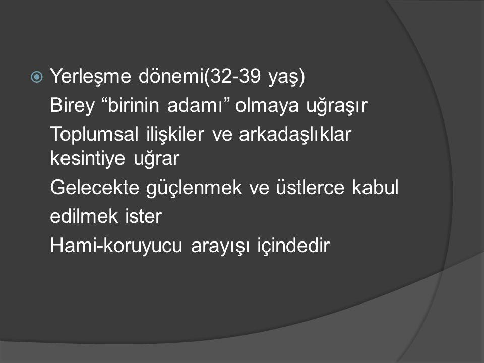 Yerleşme dönemi(32-39 yaş)