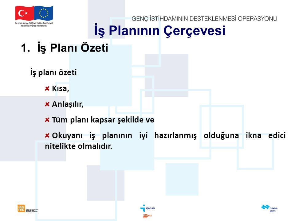 İş Planının Çerçevesi İş Planı Özeti İş planı özeti Kısa, Anlaşılır,
