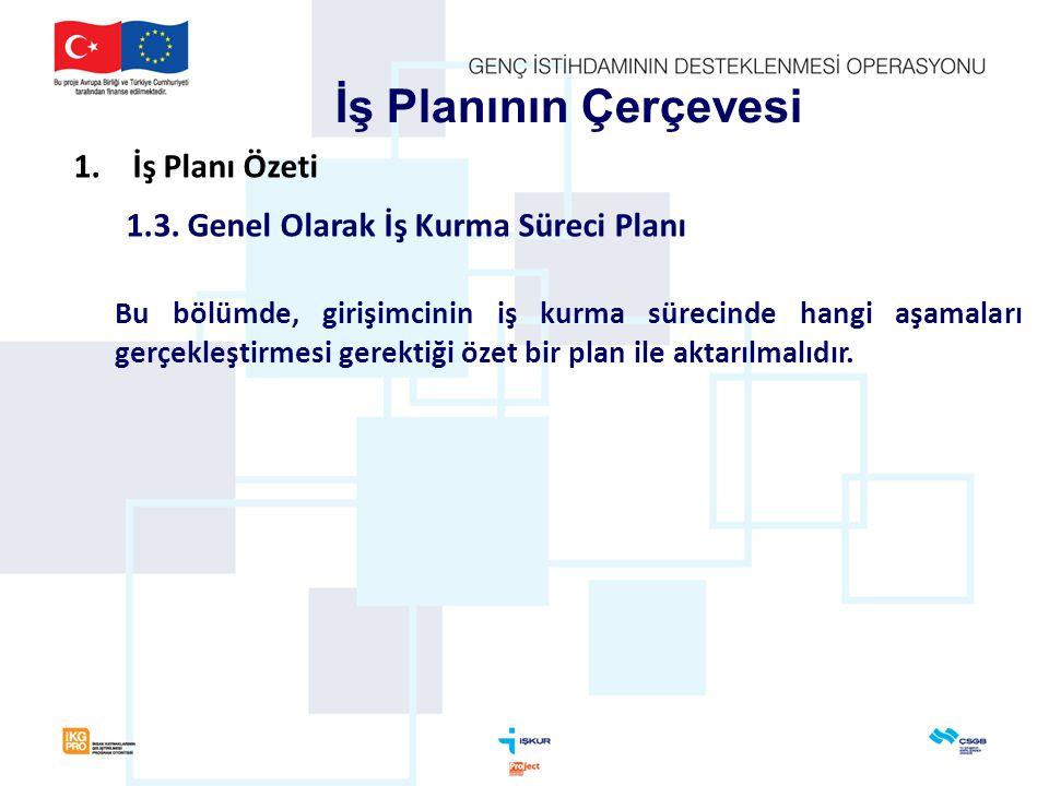 İş Planının Çerçevesi İş Planı Özeti