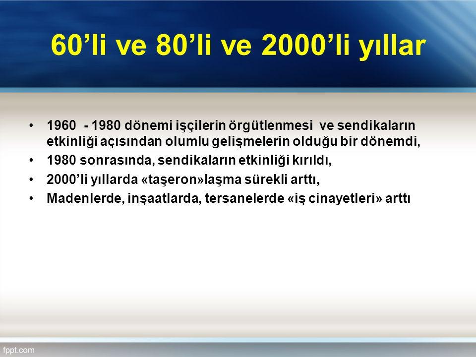60'li ve 80'li ve 2000'li yıllar