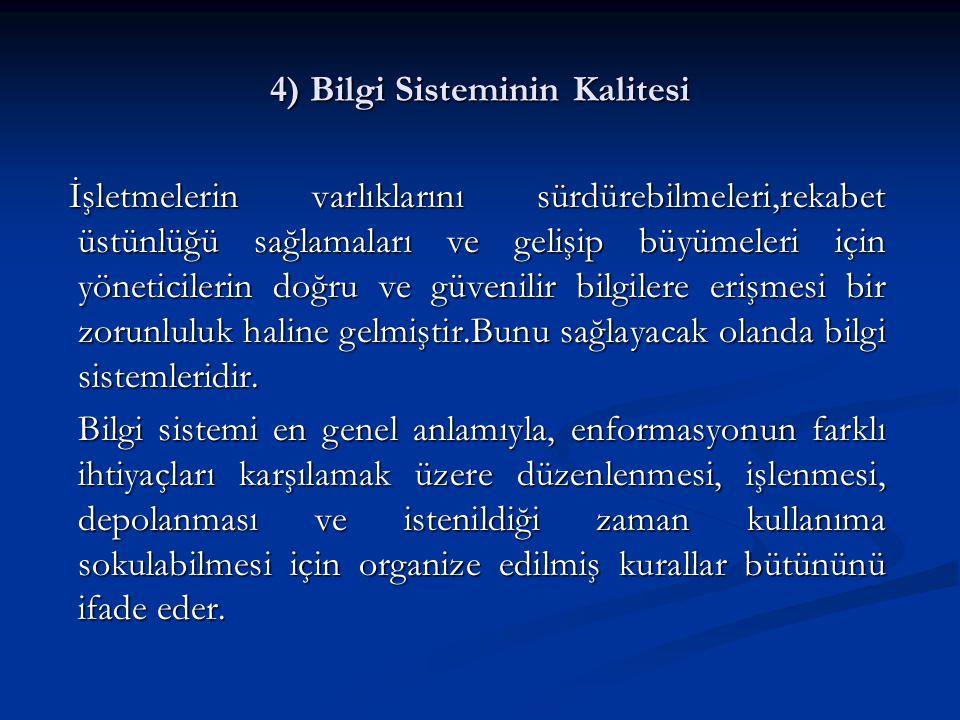 4) Bilgi Sisteminin Kalitesi