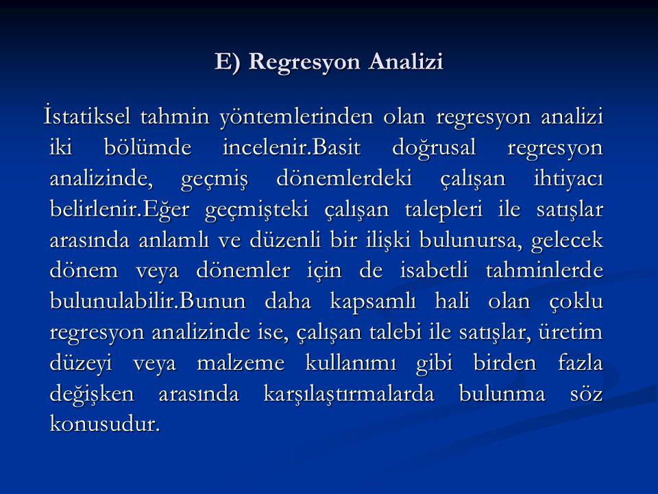 E) Regresyon Analizi