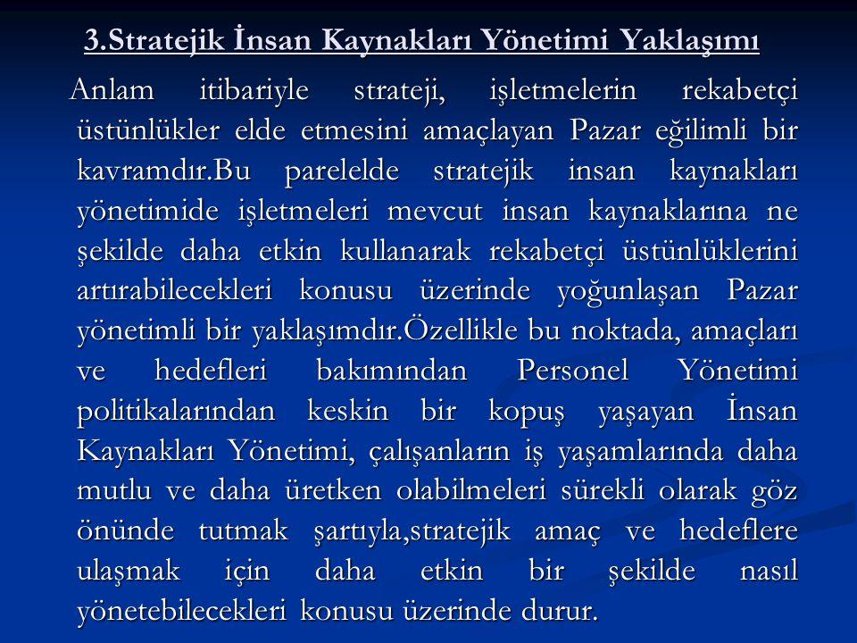 3.Stratejik İnsan Kaynakları Yönetimi Yaklaşımı