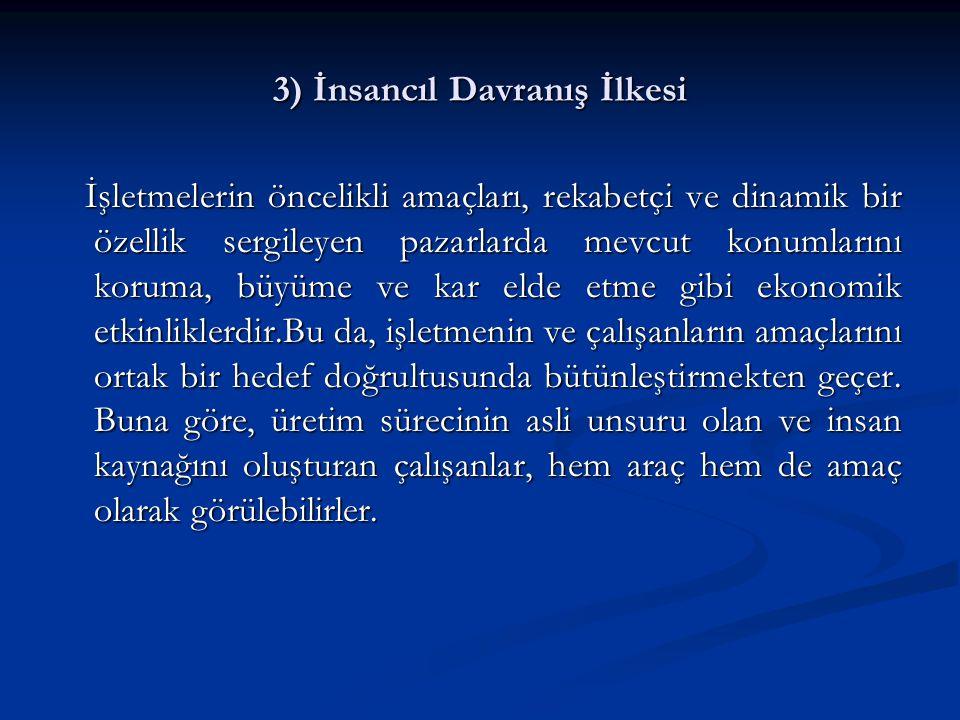 3) İnsancıl Davranış İlkesi