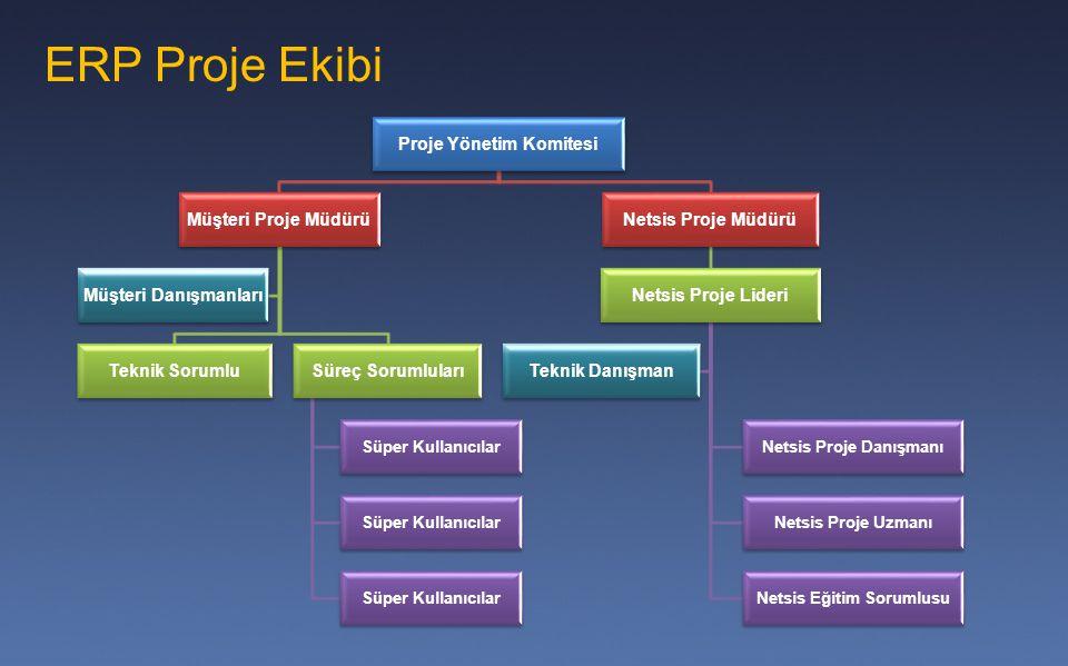 Proje Yönetim Komitesi Netsis Proje Danışmanı Netsis Eğitim Sorumlusu