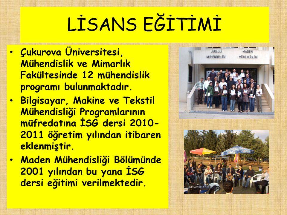LİSANS EĞİTİMİ Çukurova Üniversitesi, Mühendislik ve Mimarlık Fakültesinde 12 mühendislik programı bulunmaktadır.