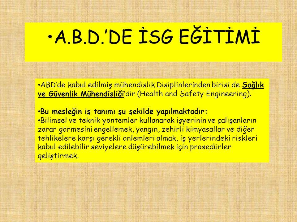 A.B.D.'DE İSG EĞİTİMİ