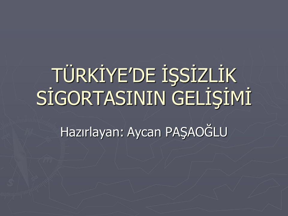 TÜRKİYE'DE İŞSİZLİK SİGORTASININ GELİŞİMİ