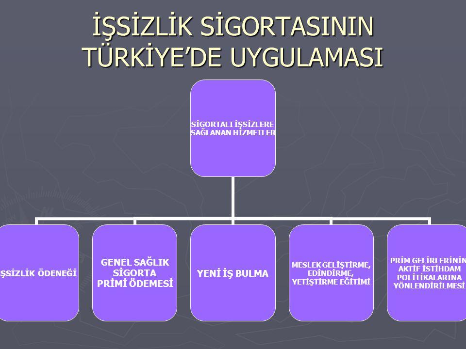İŞSİZLİK SİGORTASININ TÜRKİYE'DE UYGULAMASI