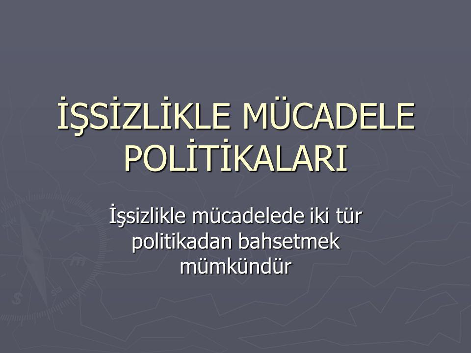 İŞSİZLİKLE MÜCADELE POLİTİKALARI