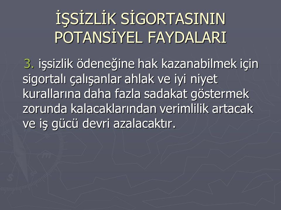 İŞSİZLİK SİGORTASININ POTANSİYEL FAYDALARI