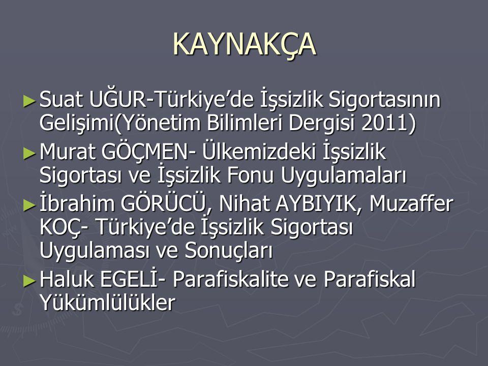 KAYNAKÇA Suat UĞUR-Türkiye'de İşsizlik Sigortasının Gelişimi(Yönetim Bilimleri Dergisi 2011)