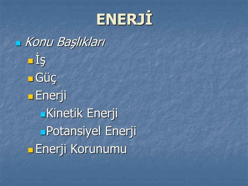 ENERJİ Konu Başlıkları İş Güç Enerji Kinetik Enerji Potansiyel Enerji