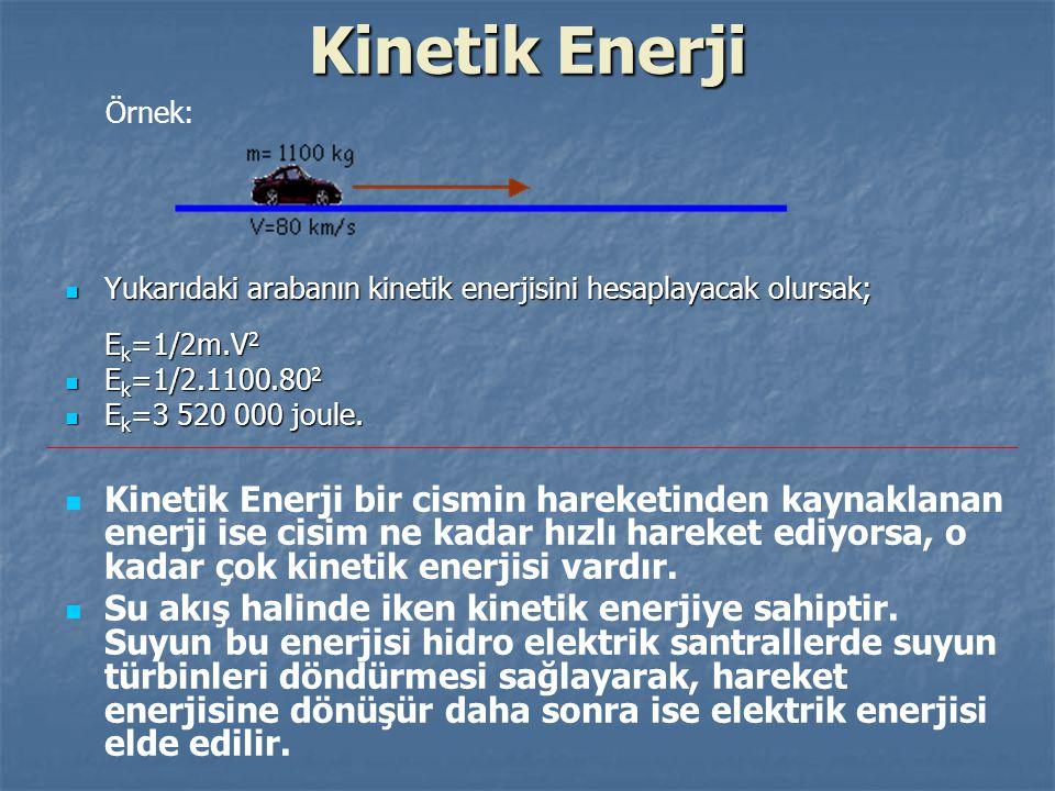 Kinetik Enerji Örnek: Yukarıdaki arabanın kinetik enerjisini hesaplayacak olursak; Ek=1/2m.V2. Ek=1/2.1100.802.