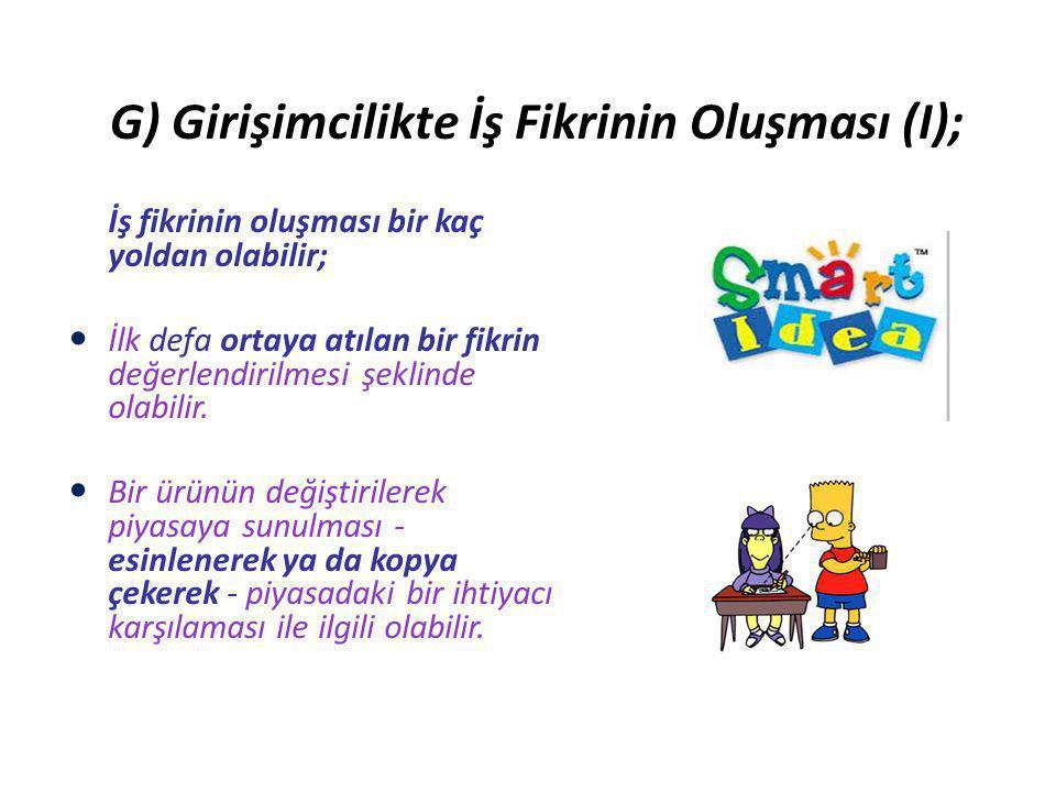 G) Girişimcilikte İş Fikrinin Oluşması (I);