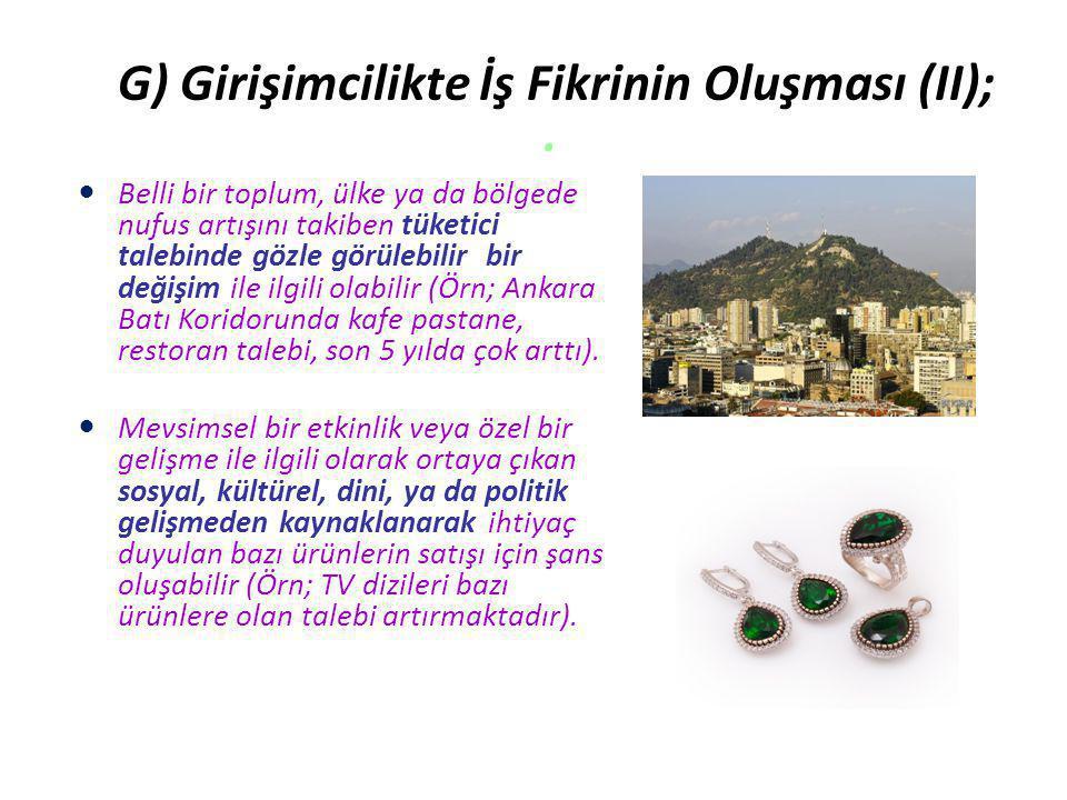 G) Girişimcilikte İş Fikrinin Oluşması (II); .