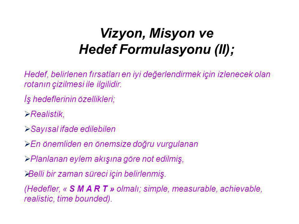 Hedef Formulasyonu (II);