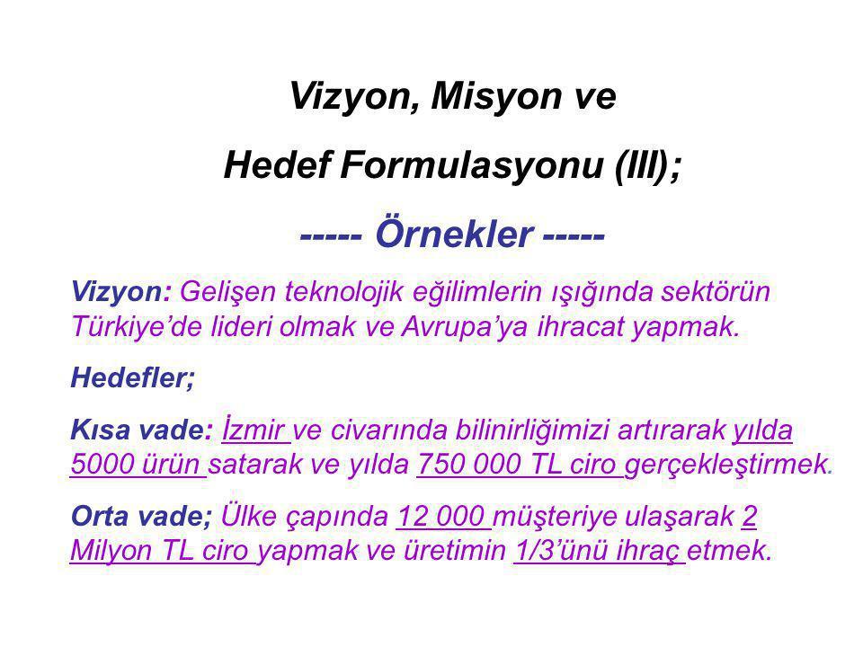 Hedef Formulasyonu (III);