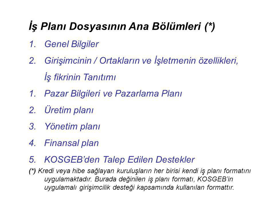 İş Planı Dosyasının Ana Bölümleri (*)