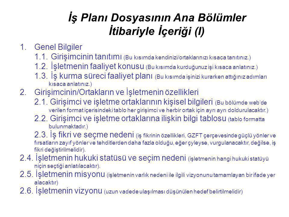 İş Planı Dosyasının Ana Bölümler İtibariyle İçeriği (I)