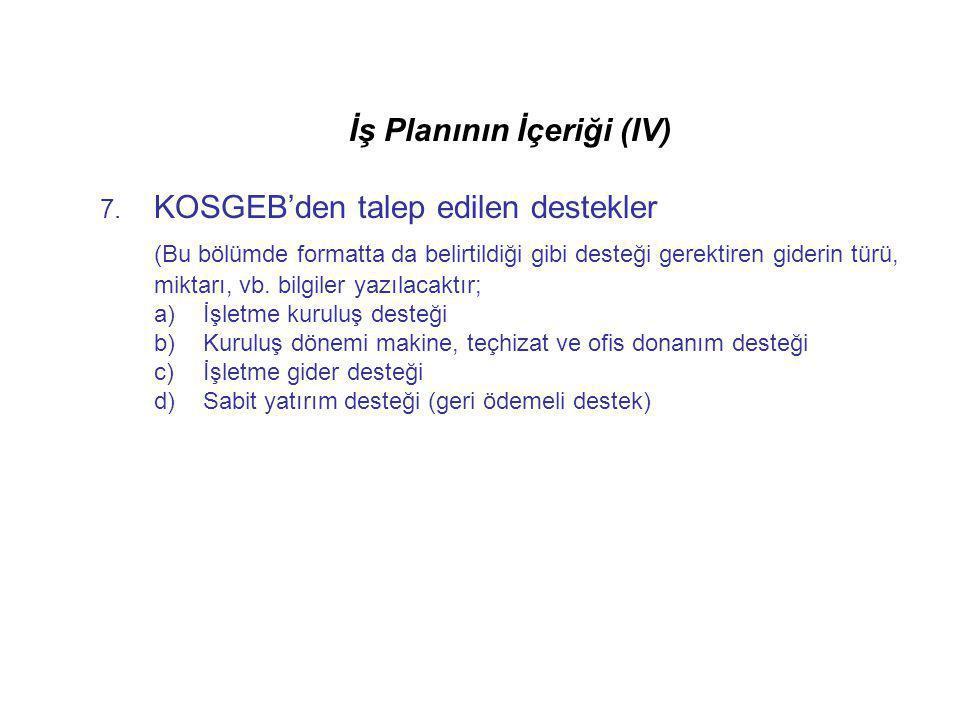 İş Planının İçeriği (IV)