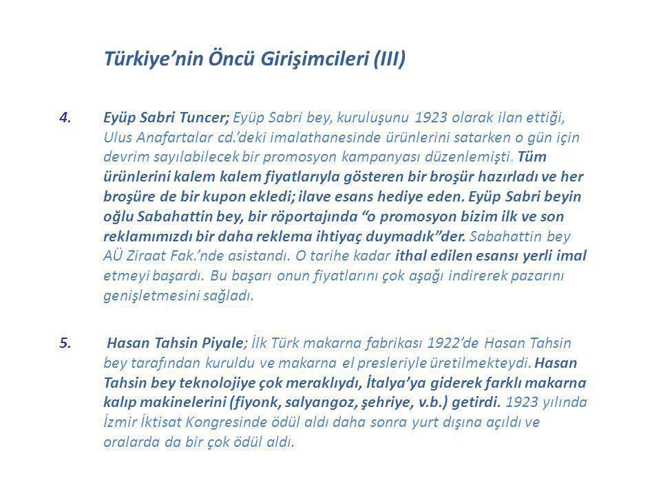 Türkiye'nin Öncü Girişimcileri (III)