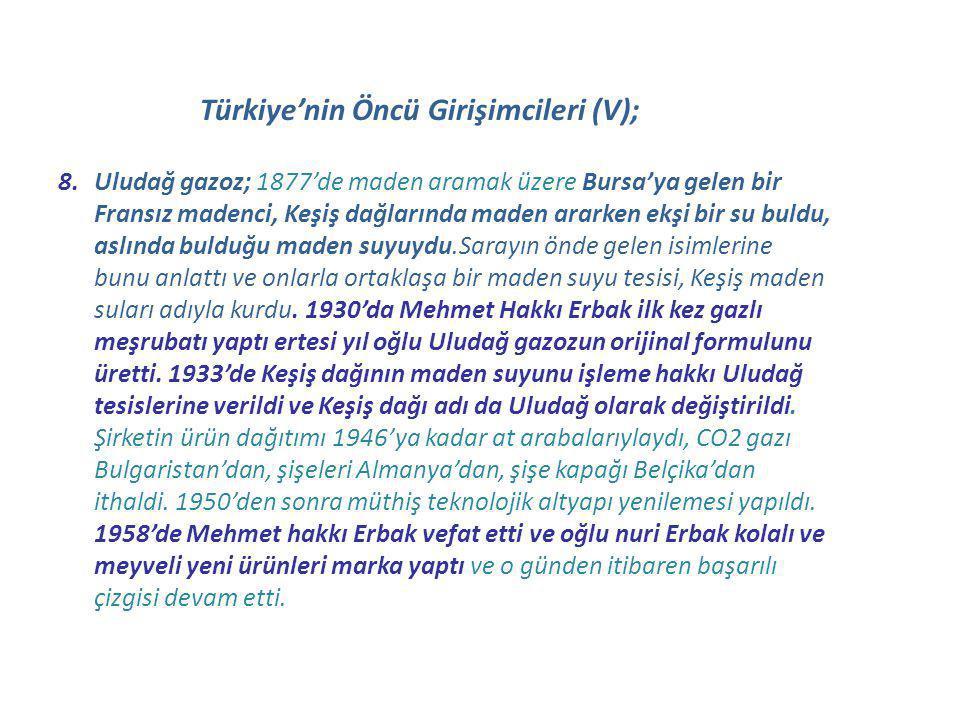 Türkiye'nin Öncü Girişimcileri (V);