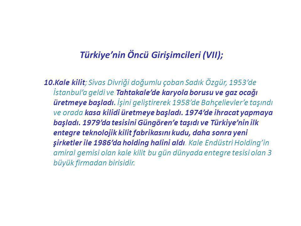 Türkiye'nin Öncü Girişimcileri (VII);