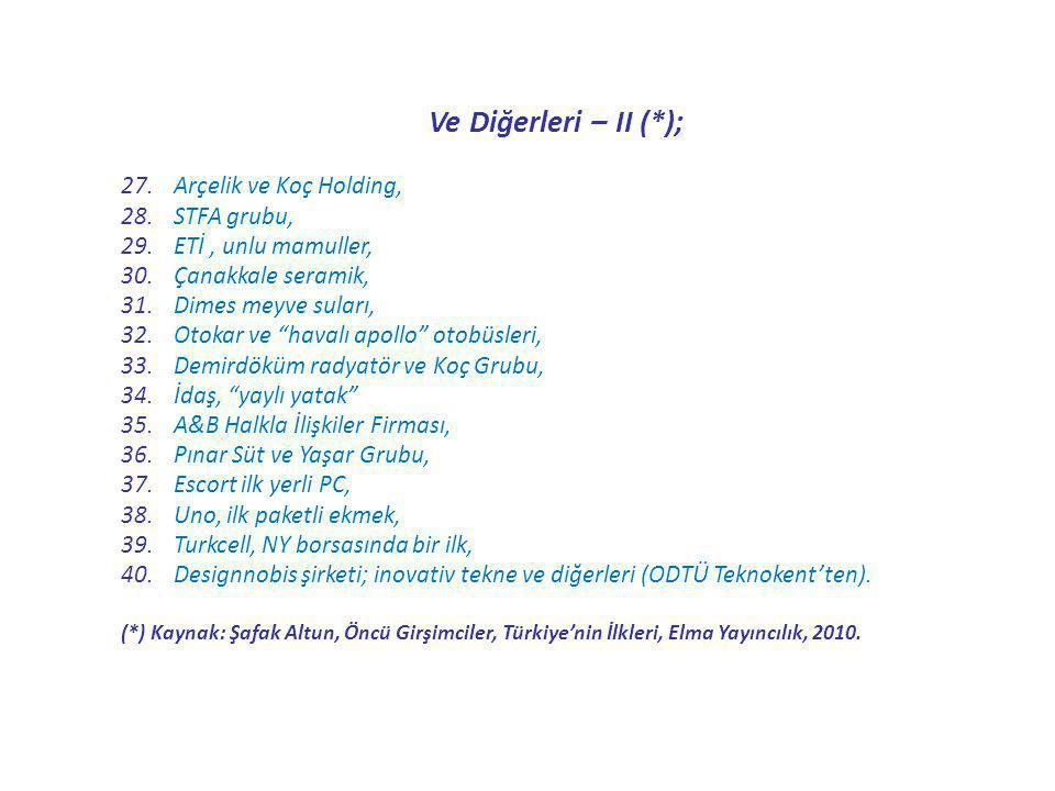Ve Diğerleri – II (*); Arçelik ve Koç Holding, STFA grubu,