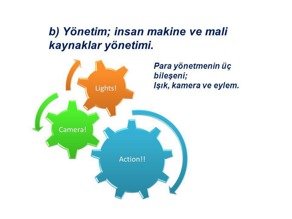 b) Yönetim; insan makine ve mali kaynaklar yönetimi.