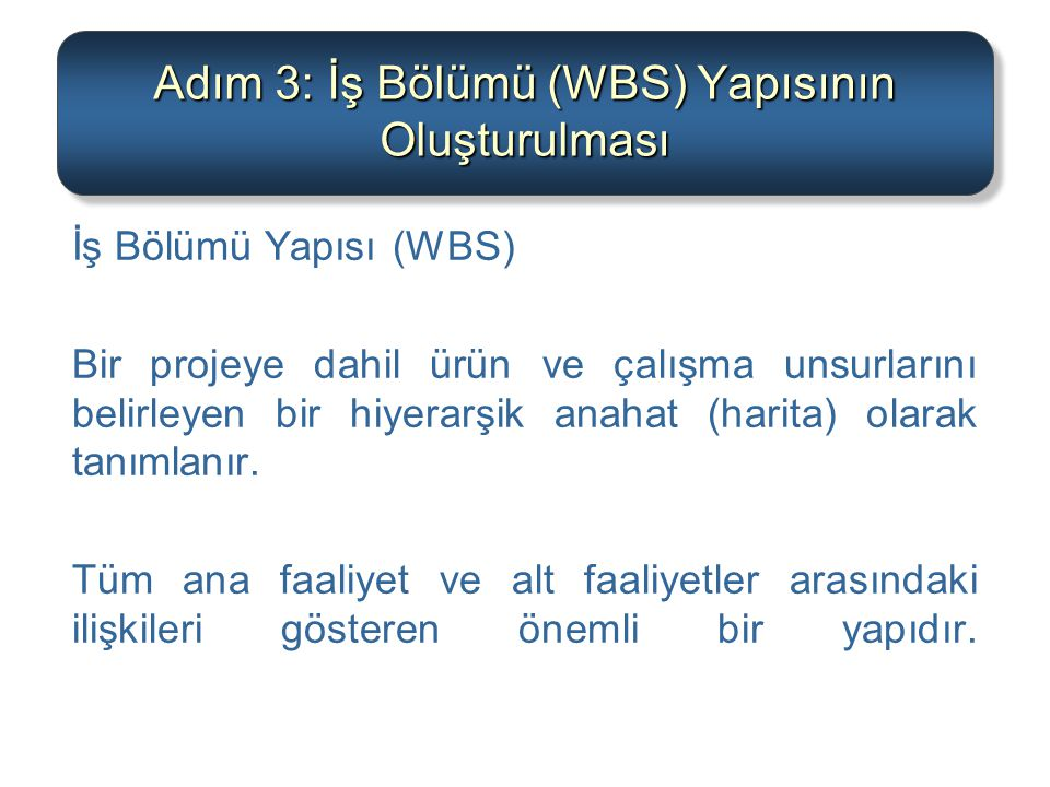 Adım 3: İş Bölümü (WBS) Yapısının Oluşturulması